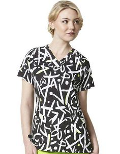 """Style Code (WI-9027XO) Twinkie Tweets by WonderWink is an eye catchy print featuring v-neck, Princess seams and fish eye darts. For adding little coverage the back hem is curved alongwith sleeves and body length with longer length. Back is tagless giving smooth feel. It has 4 pockets, 2 roomy patch pockets, 1 logo pen pocket and a 'cell snap' pocket. it is 28"""" long and is made of 100% polyester stretch fabric."""