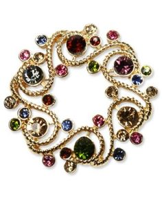 Charter Club Brooch, Gold Tone Multi-Color Glass Gem Pin - Fashion Jewelry - Jewelry & Watches - Macy's