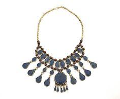 Collar de metal y lapislázuli Afgano I - plateado y azul