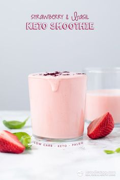 Healthy low-carb keto and paleo recipes plus free guides and diet plans to help you achieve your goals on the ketogenic. Smoothies Vegan, Keto Smoothie Recipes, Low Carb Smoothies, Ketogenic Recipes, Basil Smoothie Recipe, Low Carb Drinks, Low Carb Desserts, Low Carb Recipes, Paleo Recipes