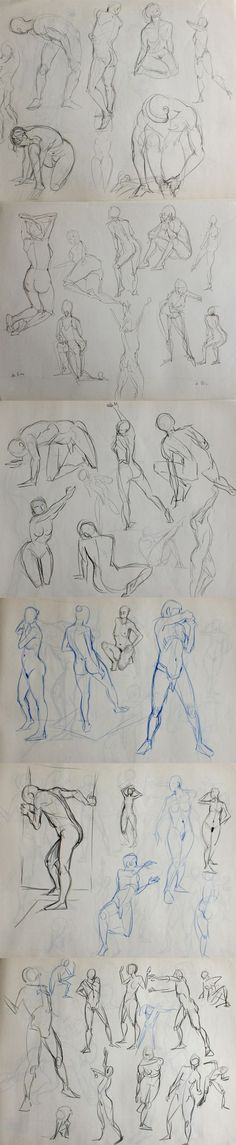 Croquis de modèles vivants, poses rapides. Nude human sketch