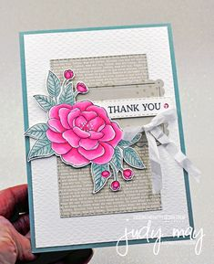 Stampin' Up! So Much Love in Polished Pink & Soft Succulent | Judy May, Just Judy Designs, Melbourne White Gel Pen, Love Stamps, Text Design, So Much Love, Small Flowers, My Stamp, Gel Pens, Flower Cards, Paper Design