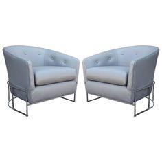 Pair of Milo Baughman Barrel Back Club Chairs in Grey Leather | From a unique collection of antique and modern lounge chairs at https://www.1stdibs.com/furniture/seating/lounge-chairs/