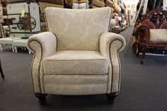 TWG Fabrics & Home Decorating Center has a wide selection of fabrics to choose from in our showroom! We can make any chair, sofa or love seat look like new. Consider decorative nailheads and hand craftsmanship for your next upholstery project! Paint Upholstery, Chair Upholstery, Wingback Chair, Sofa, Couch, Showroom, Love Seat, Accent Chairs, Fabrics