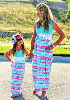 sparkleinpink.com Mommy & Me Anchor Maxi Dresses only $14.99