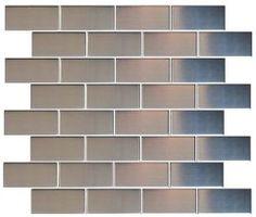 $14.95SF Brick Metal Stainless Steel 1.5 x 3 Tiles Earthworks Metal Mosaic Series - the builder depot