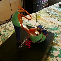 A pair of turquoise  sandals Royal blue with turquoise sandals JustFab Shoes Sandals
