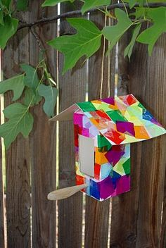 Collage Birdhouses {Tutorial} - Happiness is Homemade Use small milk cartons for minimal cutting.