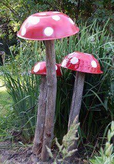Garden mushrooms made from old bowls