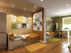 Современно, эргономично и стильно. Светло зеленый цвет, как сюжетная линия присутствует в интерьере каждой комнаты. Объемные декоративные панели в гостиной и кухне мягко разбавляют интерьер. Детская комната зонирована по пожеланию каждого из детей с помощью использования контрастных цветов, похожим приемом из гостиной комнаты выделена спальная зона. Сайт: http://саратов-дизайн.рф Группа: http://vk.com/designsaratov Телефон: 89271332827