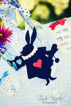 Alice In Wonderland Party Supplies- The White Rabbit Silhoette Cut Out - Table Centerpiece Room Decor