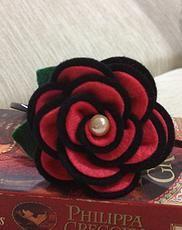 Elli Rose Headband - Red and Black Felt Rose Headband.