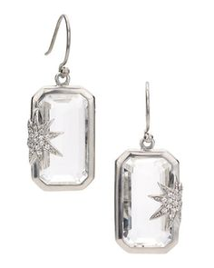 Hope Sapphire-Star White Quartz Deco Earrings by Elizabeth Showers at Neiman Marcus.
