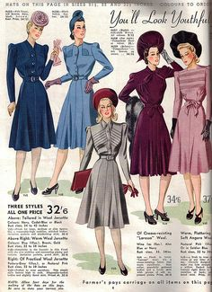 Farmer's Fashion Book Autumn & Winter 1941 Vintage Outfits, 1940s Outfits, 1940s Dresses, Vintage Dresses, Vintage Clothing, Flapper Dresses, 1940s Fashion Women, Retro Fashion, Vintage Fashion
