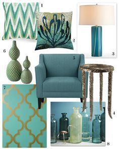 1. IKAT LOVER PILLOW IN GREEN  2. ECCO SAGE & TEAL PILLOW  3. ARTERIORS TALIA AQUAMARINE WAVY STRIPES LAMP  4. SILVER WAVES MARTINI TABLE  5. MARGO CHAIR IN TURQUOISE  6. DWELL STUDIO PEBBLE GREEN DOUBLE VASE  7. HYDE PARK TEMPORARY WALLPAPER  8. RECYCLED GLASS JUGS  You might also like: