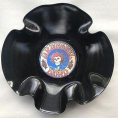"Record Bowl - Classic Rock 12"" Vinyl - Vintage 70's Rock Vinyl Collectible - Grateful Dead Logo 12"""