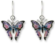 Madame Butterfly Hand Painted Dangle Earrings 925 Sterling Silver Gift Boxed #Zarah #DropDangle