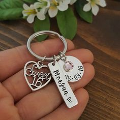 Sweet 16 Keychain 16th Birthday Gift by PocketsOfMischief                                                                                                                                                                                 More