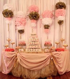 I like the Pom pom idea for decoration! ----Pink & Brown/Ballerina theme for baby shower or birthday.love this backdrop for my shower Shower Party, Baby Shower Parties, Baby Shower Themes, Baby Shower Decorations, Bridal Shower, Shower Ideas, Wall Decorations, Ballerina Baby Showers, Gold Baby Showers
