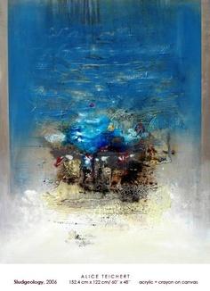 "Sludgeology, Alice Teichert, 60""x48"", Acrylic and Crayon on Canvas, 2006"