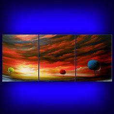 abstract painting art landscape acrylic original landscape art huge surreal red modern 66 x 28