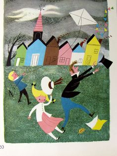 Vintage 1951 Lithograph Alice and Martin Provensen Large Childrens Book Illustration, Kite in the Wind.  - so lovely framed in a chid's room!