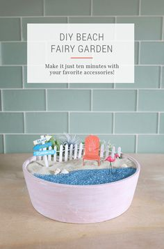 DIY Beach Fairy Garden Tutorial - Make a quick and easy ocean zen garden in less than 10 minutes. This is a perfect gift idea, home decor, or crafts with kids!