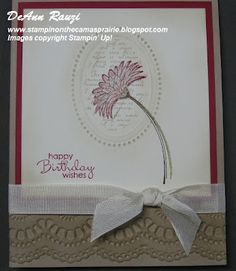 An elegant Reason to Smile (retired) card by DeAnn. Great way to use the Designer Frame embossing folder.