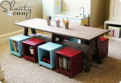 Kids Table DIY kids_table_ Love the table and the cube storage seats. DIY instructions here!kids_table_ Love the table and the cube storage seats. DIY instructions here! Kids Play Table, Kid Table, Lego Table, Table Stools, Barn Table, Furniture Plans, Diy Furniture, White Furniture, Bedroom Furniture