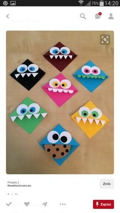 Make bookmarks yourself with great ideas and Lesezeichen selber machen mit tollen Ideen und Anleitungen Make funny reading monsters for the book corner - Origami Monster Bookmark, Bookmark Craft, Origami Bookmark Corner, Bookmark Ideas, Oragami Bookmark, Diy Marque Page, Marque Page Origami, Corner Bookmarks, Bookmarks Kids