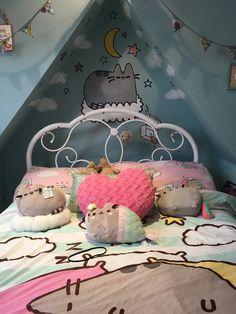 Cute Bedroom Ideas, Girl Bedroom Designs, Bedroom Themes, Bedroom Decor, Cat Bedroom, Bedroom Inspo, Dream Bedroom, Pusheen Stuff, Pusheen Cute