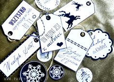 Przywieszki do prezentów czarno białe - partymika Gift Wrapping, Wrapping Ideas, Alex And Ani Charms, Christmas Decorations, Gifts, Accessories, Decorating Ideas, Jewelry, Design