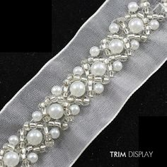 Beaded Rhinestones Pearls Fabric Applique Ribbon Embroidered Venise Lace Trim Embellishment Sewing Supplies for. - pool at dollar general Pearl Embroidery, Tambour Embroidery, Couture Embroidery, Embroidery Dress, Embroidery Stitches, Embroidery Patterns, Hand Embroidery, Tambour Beading, Bordados Tambour