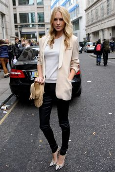 leather pants and light pink blazer