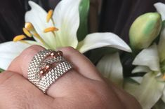 Ring, Silver and Rose colored Ring, unique jewelry, Statement Ring, Cocktail Ring