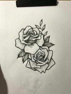 My left thigh Rose Drawing Tattoo, Tattoo Sketches, Tattoo Drawings, Rose Drawings, Drawing Art, Art Drawings, New Tattoos, Body Art Tattoos, Small Tattoos