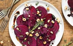 Team tender roasted beetroot with toasted hazelnuts, thyme and a balsamic   syrup for this health-boosting salad