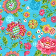 Gypsy Girl by Lily Ashbury, Gypsy Bloom in blue sky, 1 yard.Etsy.