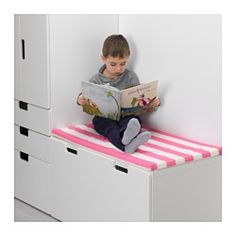 IKEA - HEMMAHOS, Bench pad, , Turns a bench into soft, comfortable seating and fits perfectly on a STUVA bench.Easy to remove the cover for washing since it has a zipper.The polyester filling keeps its shape and provides soft support for your child's body.Stays firmly in place because it has an anti-slip surface underneath.