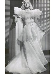 Marion Davis in white organdy Orry Kelly gown-Cain and Mabel 1936