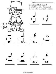 math worksheet : music leprechaun music math  math math worksheets and equation : Musical Math Worksheets