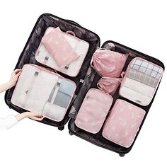 j Funny Cat 3 Set Packing Cubes,2 Various Sizes Travel Luggage Packing Organizers