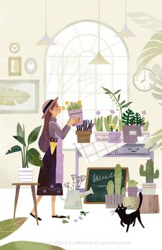 shopping illustration The Flower Shop on Behance Flower Shop Design, Flower Shop Decor, Illustration Noel, Illustration Flower, Garden Illustration, Flower Shop Interiors, Aesthetic Art, Aesthetic Korea, Cute Drawings