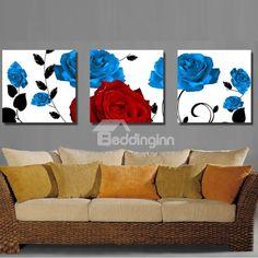 Blue and Red Roses Canvas Wall Prints #wallart #wallprint Live a better life start with @beddinginn