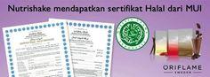 alhamdulillah Nutrishake dari Oriflame udah dapet Seritifikat HALAL dari MUI ^-^