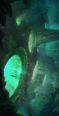 The amazing digital art – Cyberpunk Gallery Fantasy City, Fantasy Places, Fantasy World, Fantasy Art Landscapes, Fantasy Landscape, Landscape Art, Fantasy Concept Art, Fantasy Artwork, Digital Art Fantasy