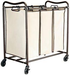 10. DecoBros Heavy-Duty 3-Bag Laundry Sorter Cart