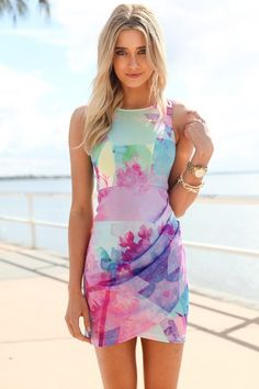 Multi Color Print Sleeveless Mini Dress with Draped Overlay