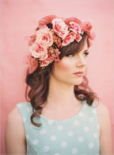 Stunning floral head piece by Adornments Flowers & Finery. Photographer - Michelle Warren