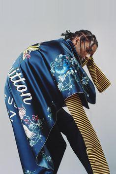 ASAP Rocky wearing  Louis Vuitton Silk Panther Blanket, Louis Vuitton Silk Chambray Pants, Prada SS16 Striped Sweatshirt